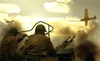 Красноармейцы бьют по немецким планерам из современных крупнокалиберных пулеметов