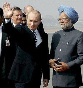 В. Путин и Манмохан Сингх