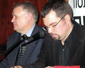 Организаторы премии и ведущие вечера: Ю.Солозобов и М. Голованов