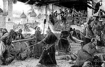 Осада Троице-Сергиевой Лавры в Смутное время. Худ. Милорадович. 1894 г.