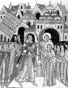 прп. Сергий благословляет на битву Дмитрия Донского. XVI в.
