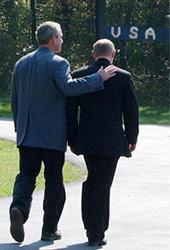 """""""Друзья"""": Дж. Буш и Вл. В. Путин"""